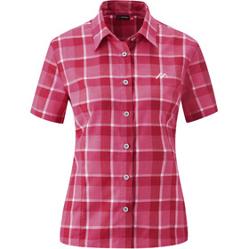 Maier Sports Karo Maillot manches courtes zippé Femme, pink check